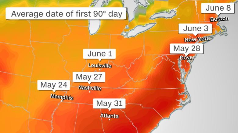 A massive heat dome is about to make the Southeast sweat 210522134539-weather-first-90-degree-day-052221-exlarge-169