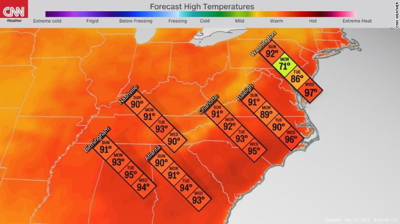 A massive heat dome is about to make the Southeast sweat 210522142306-weather-4-day-temp-map-heat-wave-052221-exlarge-169