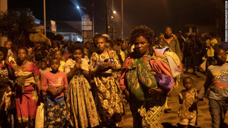 Some residents of nearby Goma left the city following the eruption of Mount Nyiragongo on Saturday.
