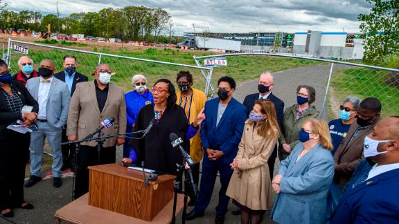Windsor Town Council member Nuchette Black-Burke speaks at a May 7 news conference outside the Amazon construction site where several nooses have been found in Windsor, Connecticut.