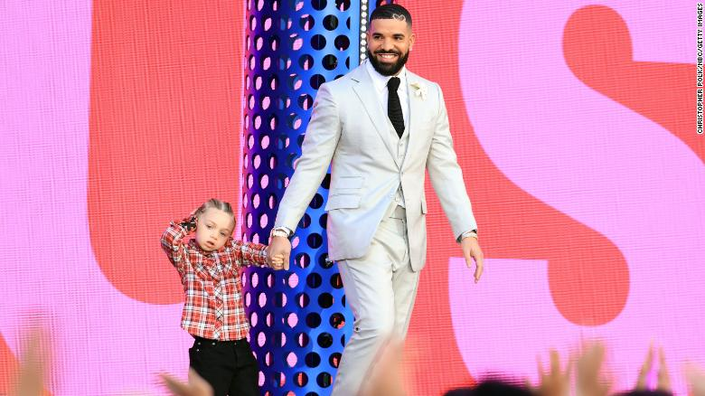 Drake's son appears with him on stage at the Billboard Music Awards
