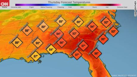 The forecast for high temperatures in the Southeast on Thursday