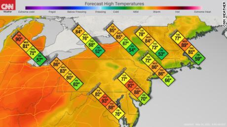 The forecast for high temperatures in the Northeast this week