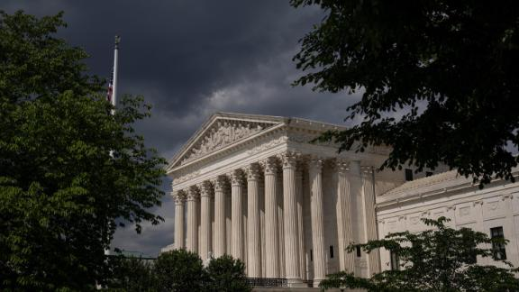 Clouds are seen above The U.S. Supreme Court building on May 17, 2021 in Washington, DC. The Supreme Court said that it will hear a Mississippi abortion case that challenges Roe v. Wade. They will hear the case in October, with a decision likely to come in June of 2022.