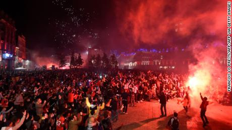 Lille supporters celebrate a first Ligue 1 title in 10 years.
