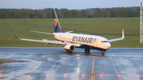 A photo taken on May 23, 2021 shows a Boeing 737-8AS Ryanair passenger plane from Athens, Greece, that was intercepted and diverted to Minsk on the same day by Belarus authorities