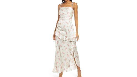 Wayf Floral Tie Strap Satin Maxi Dress