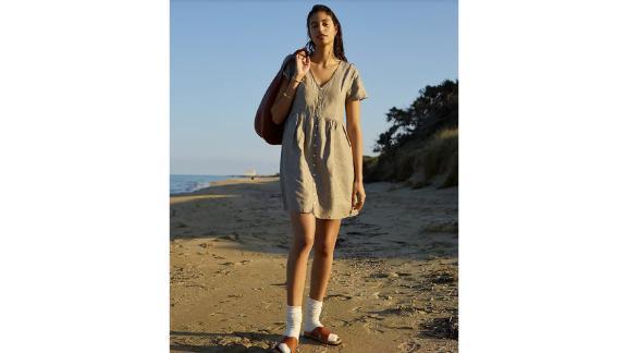 Linen-Blend Alexandra Button-Front Minidress