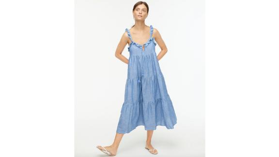 Cotton-Linen Tiered Maxi Dress