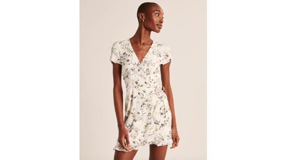 Short-Sleeve Ruffle Wrap Minidress