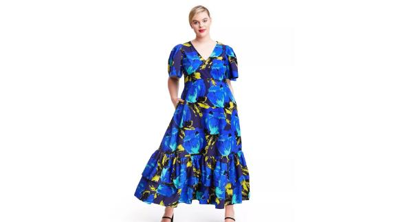 Christopher John Rogers Floral Puff-Sleeve Tiered Dress