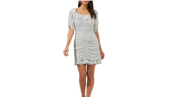 Astr The Label Floral Ditsy Ruffle Neck Ruched Dress
