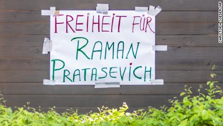 """""""Freedom for Raman Pratasevich"""" (Protasevich) is written on a protest wagon in front of the Embassy of Belarus in Berlin, Germany, Monday, May 24, 2021."""