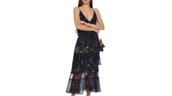 Robe en crêpe de Chine de soie à ornements et à empiècements en georgette Camilla