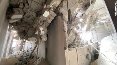 PCRF office after an Israeli airstrike nearby.