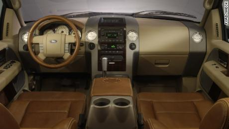 Pickup trucks can now be purchased with interiors rivaling those of luxury cars, like this one in the 2005 Ford F-150 King Ranch model.