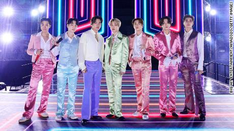 The seven members of BTS -- J-Hope, Suga, V, Jimin, Jin, Jungkook and RM -- perform at the American Music Awards in November.