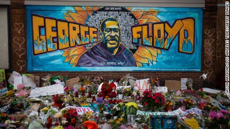 The makeshift memorial and mural outside Cup Foods where George Floyd was murdered by a Minneapolis police officer on May 31, 2020 in Minneapolis.
