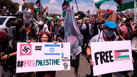 Los Angeles saw a mass march to the Israeli consulate by supporters of Palestinians this month, along with a suspected hate crime.