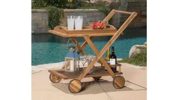 Christopher Knight Home Riviera Acacia Wood Patio Bar Cart