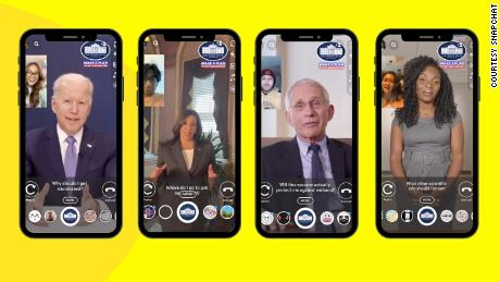 In this illustration provided by Snapchat, users showcase the app's new augmented reality lens.