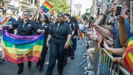 Gay and Lesbian police officers march during in the Pride Parade in 2019.