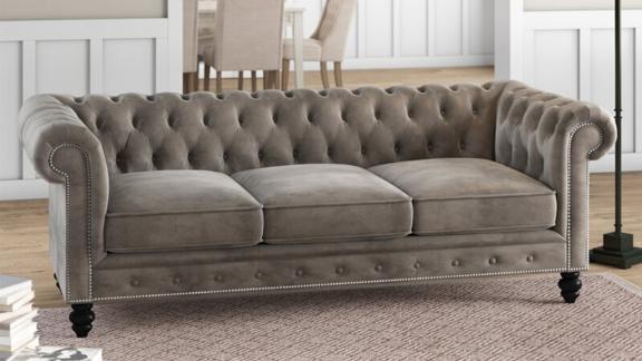 Birch Lane Eufaula Genuine Leather Rolled Arm Chesterfield Sofa