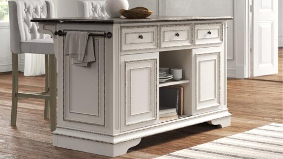 Kelly Clarkson Home Tiphaine Kitchen Island With Faux Marble Top