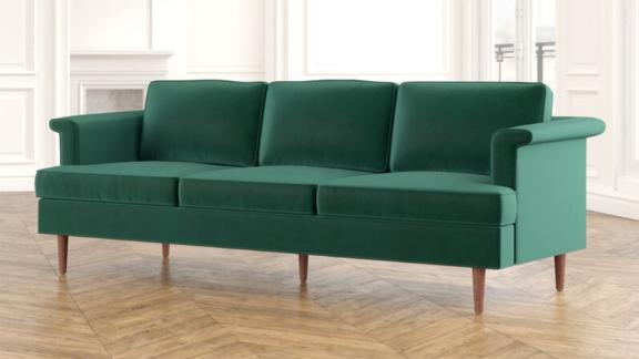 Gold Flamingo Ryker Velvet Rolled Arm Sofa