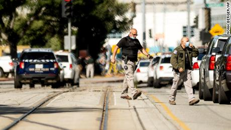 Law enforcement officers respond to the scene of a shooting at a Santa Clara Valley Transportation Authority (VTA) facility on Wednesday, May 26, 2021, in San Jose, California.