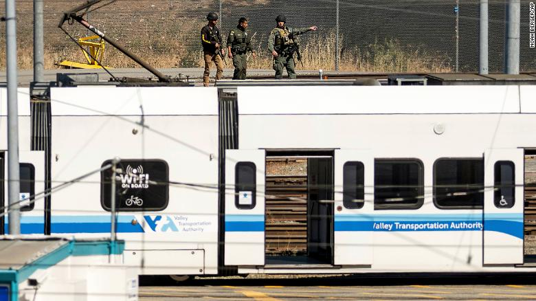 Law enforcement officers respond to the scene of a shooting at a Santa Clara Valley Transportation Authority (VTA) facility on Wednesday.