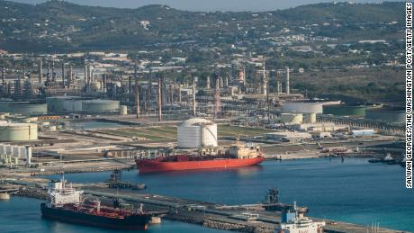 The Limetree Bay refinery is viewed from above in St. Croix, Virgin Islands, Thursday, March 18, 2021.