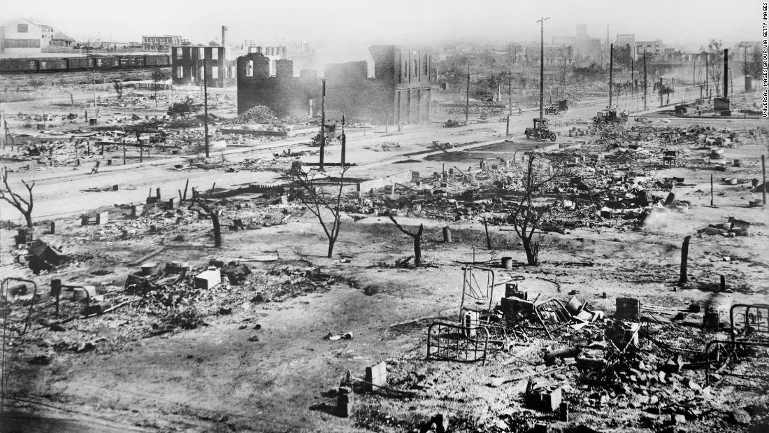 Ruins of Greenwood District after Race Riots, Tulsa, Oklahoma, USA, American National Red Cross Photograph Collection, June 1921. (Photo by: GHI/Universal History Archive/Universal Images Group via Getty Images)