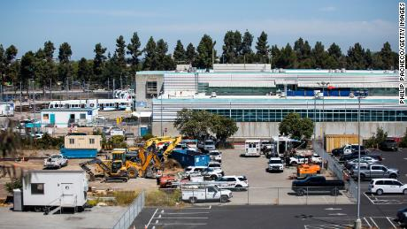 A view of the Valley Transportation Authority (VTA) light rail station where a mass shooting took place Wednesday in San Jose, California.