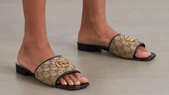 Gucci Jolie Leather-Trimmed Slides
