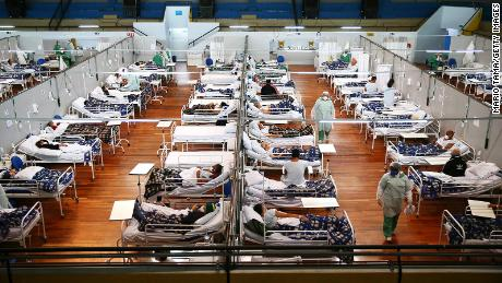 A Covid-19 field hospital set up in the Pedro Dell'Antonia Sports Complex on May 17, 2021 in Santo Andre, Brazil.