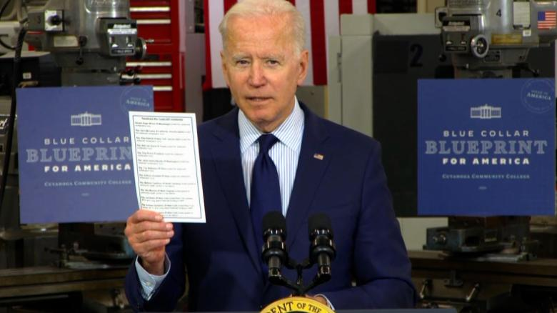 Biden blasts Republicans for touting Covid relief funds they voted against: 'Some people have no shame'