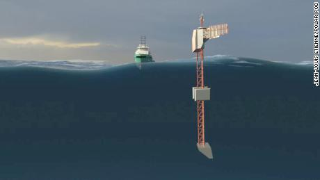 """Seawater ballast tanks will help """"flip"""" the structure and keep it steady."""