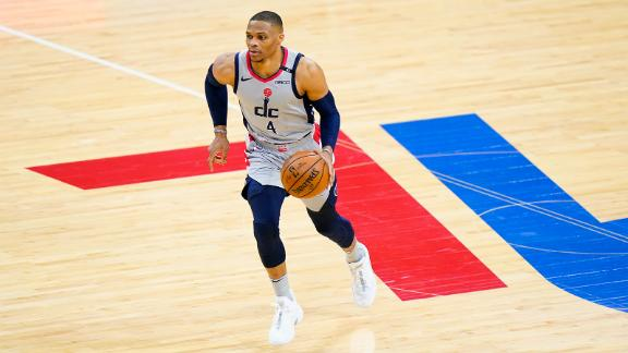 Washington Wizards guard Russell Westbrook plays during Game 2 in a first-round NBA playoff series.