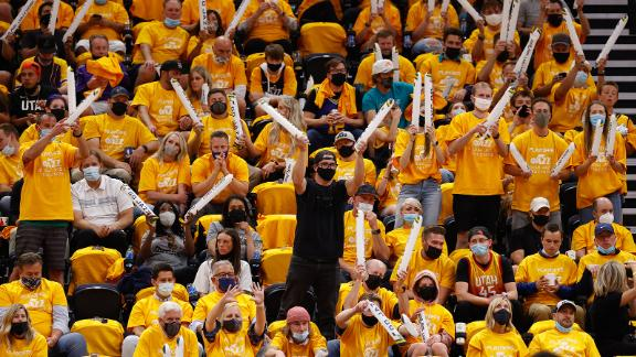 Utah Jazz fans cheer during the game against the Memphis Grizzlies on May 26, 2021 ,in Salt Lake City.