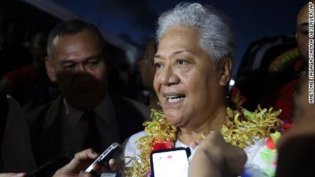 Samoa's Prime Minister-elect Fiame Naomi Mata'afa talks to reporters outside parliament house in Apia, Samoa, on May 24, 2021.