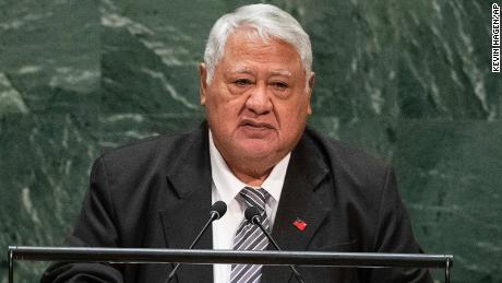 Samoa's then-Prime Minister Tuilaepa Sailele Malielegaoi addresses the United Nations General Assembly at the UN headquarters in New York in 2019.