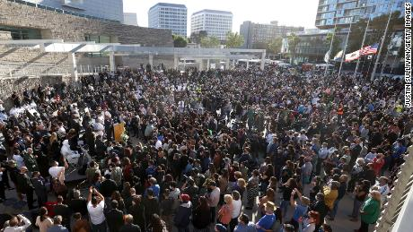Mourners fill the plaza at San Jose City Hall during a vigil for the nine shooting victims