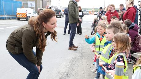 Catherine, Duchess of Cambridge speaks to school children while visiting the European Marine Energy Centre in Stromness on day five of their week-long Scottish trip.