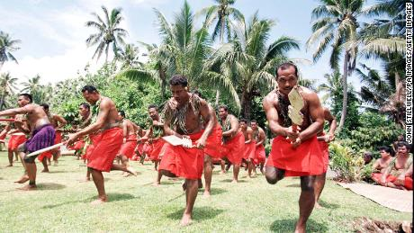 A traditional dance ceremony in Apia, the capital of Samoa.