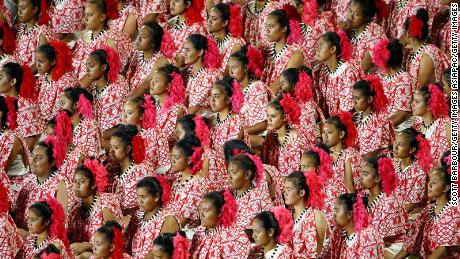 Samoan dancers perform during the Opening Ceremony of the Vth Commonwealth Youth Games at Apia Park on September 5, 2015 in Apia, Samoa.