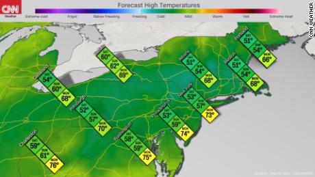 Forecast high temperatures in the Northeast this weekend