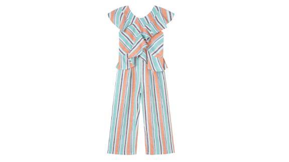 Kids' Stripe Ruffle Jumpsuit