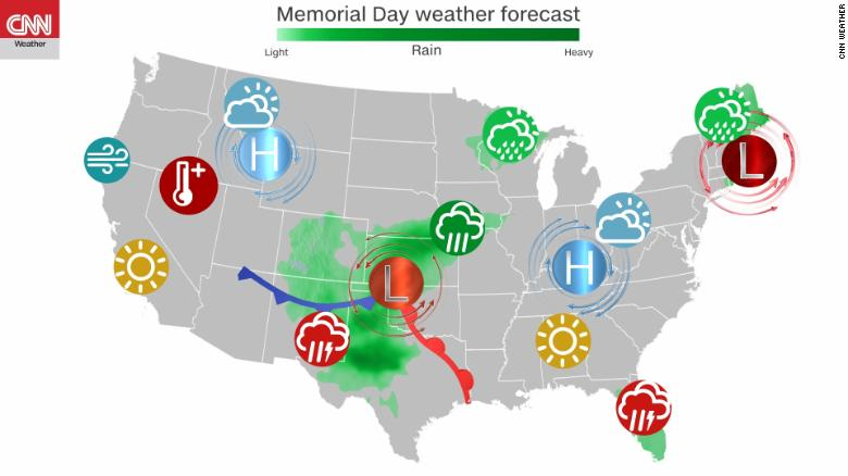 Memorial Day weekend brings record cold, triple-digit heat and stormy conditions