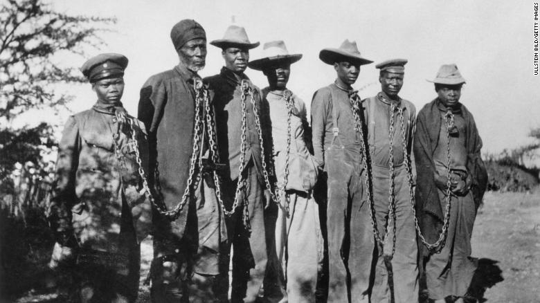 German troops killed up to 80,000 of Herero and Nama people in what is now Namibia between 1904 and 1908 in response to an anti-colonial uprising.